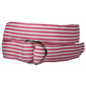 Ladies D-Ring Belt - Pink and White Stripes