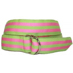 Ladies D-Ring Belt - Green & Pink Stripes