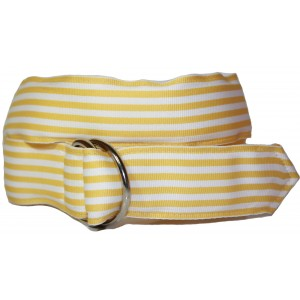 Ladies D-Ring Belt - Yellow & White Stripes