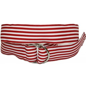 Ladies D-Ring Belt - Red & White Stripes