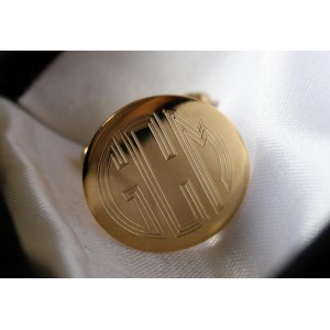 Gold Plated Cuff Link Set - engraved with your Initials