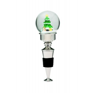 Holiday Tree Snow Globe Bottle Stopper - NP 5""
