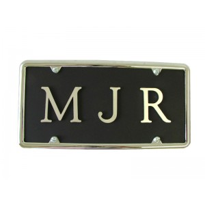 Monogram Aluminum Plate with Brushed Aluminum Letters